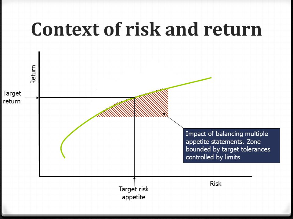 Context of risk and return Return Risk Target risk appetite Target return Impact of balancing multiple appetite statements.