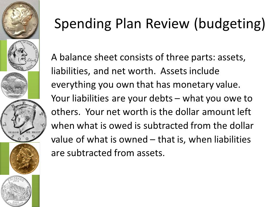 Spending Plan Review (budgeting) A balance sheet consists of three parts: assets, liabilities, and net worth.