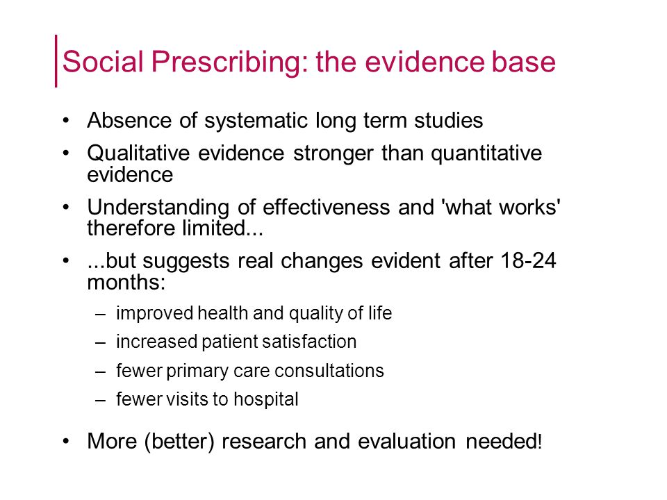 What do we need to find out through an evaluation of social prescribing.