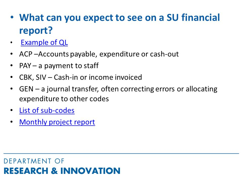 What can you expect to see on a SU financial report.
