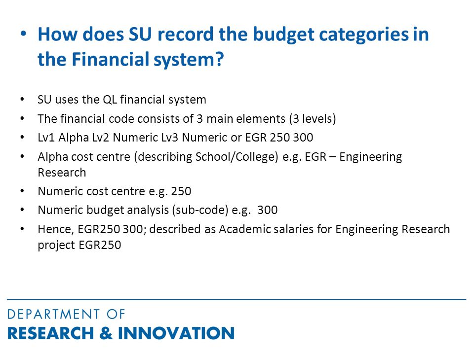 How does SU record the budget categories in the Financial system.