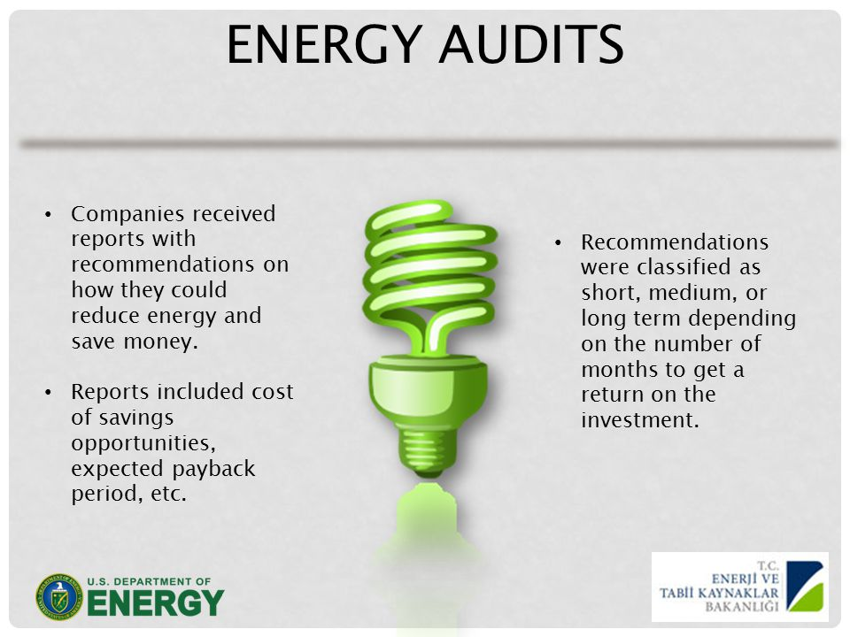 ENERGY AUDITS Companies received reports with recommendations on how they could reduce energy and save money.
