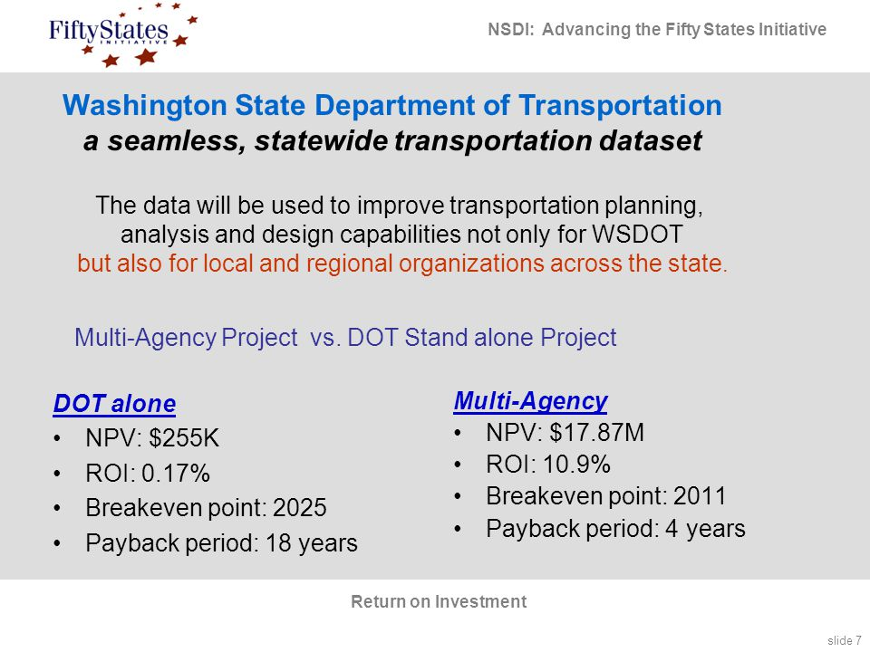 slide 7 NSDI: Advancing the Fifty States Initiative Return on Investment Multi-Agency Project vs.