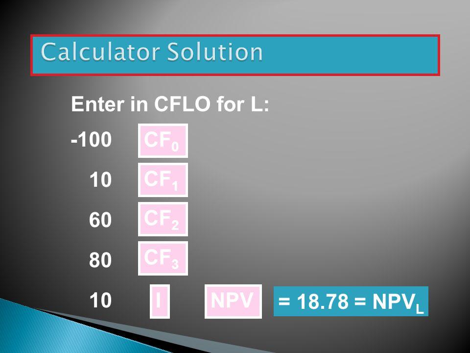 Enter in CFLO for L: -100 10 60 80 10 CF 0 CF 1 NPV CF 2 CF 3 I = 18.78 = NPV L
