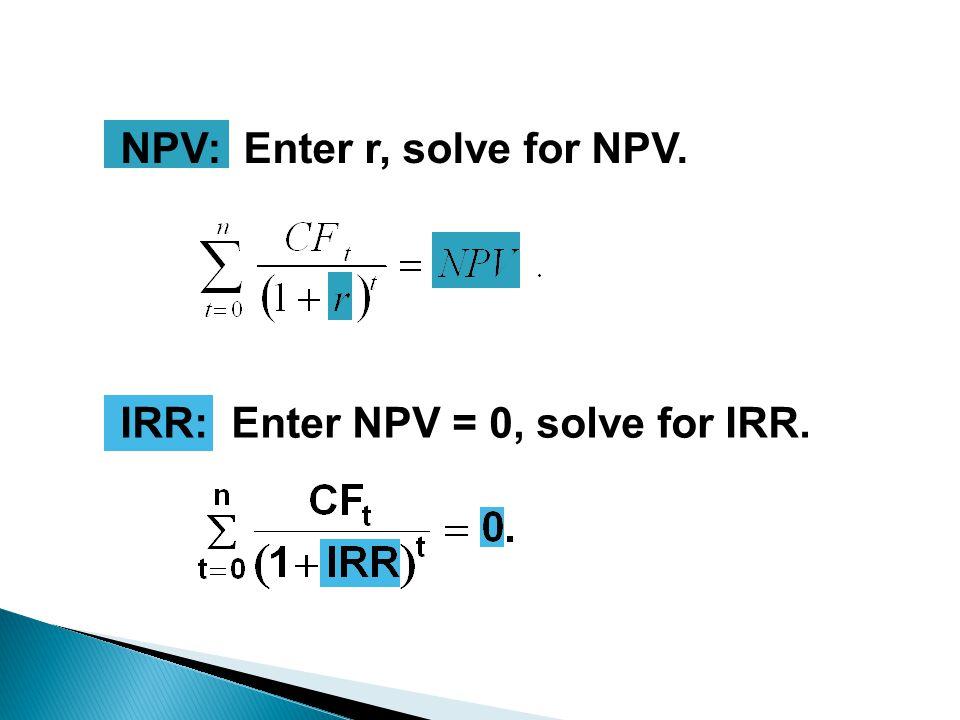 NPV: Enter r, solve for NPV. IRR: Enter NPV = 0, solve for IRR.