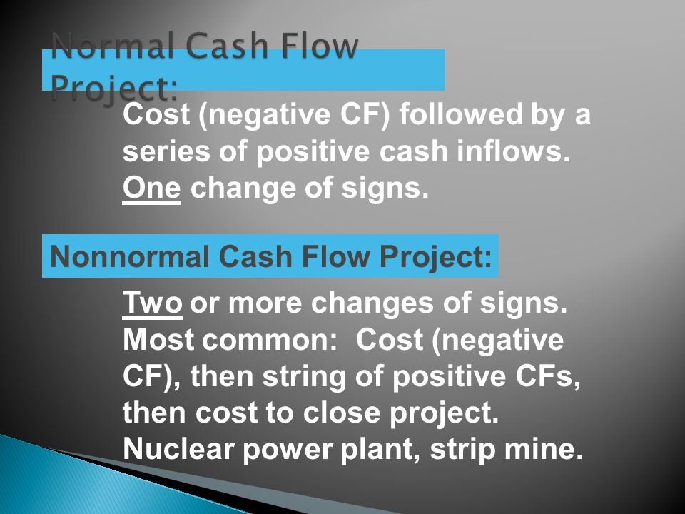 Cost (negative CF) followed by a series of positive cash inflows.