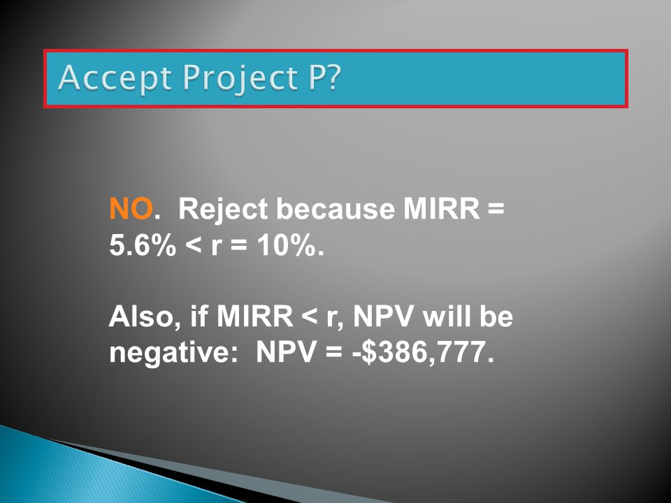 NO. Reject because MIRR = 5.6% < r = 10%. Also, if MIRR < r, NPV will be negative: NPV = -$386,777.