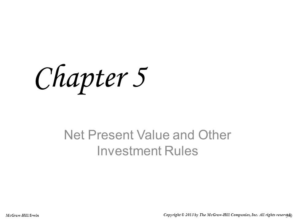 5-21 Investing vs Financing Projects In an investing project, which is the typical type of project, the firm initially pays out money and receives positive cash flows later on In a financing project, the firm receives funds first and then pays out funds later Examples of the latter type are rare but do exist, for instance, a corporation conducting a seminar where attendees pay in advance and the corporation pays out funds (incurs expenses) later In this case, the IRR is really a borrowing rate and lower is better Hence, the Minimum Acceptance Criterion is reversed: accept if the IRR is smaller than the required return and reject otherwise