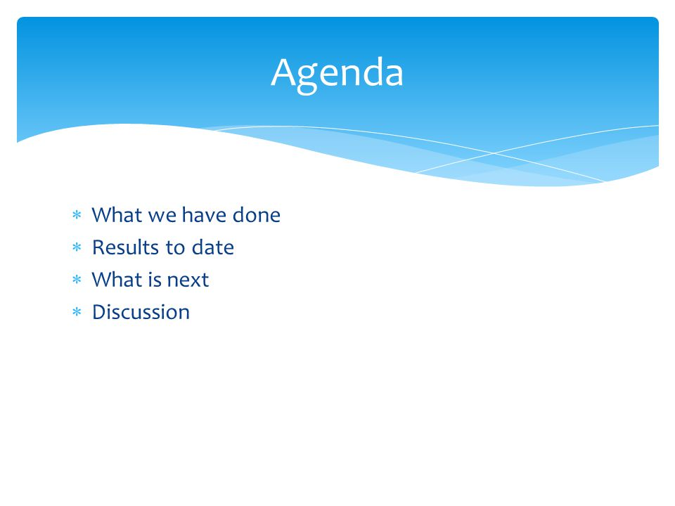  What we have done  Results to date  What is next  Discussion Agenda