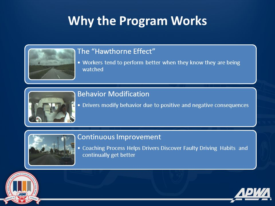 Why the Program Works The Hawthorne Effect Workers tend to perform better when they know they are being watched Behavior Modification Drivers modify behavior due to positive and negative consequences Continuous Improvement Coaching Process Helps Drivers Discover Faulty Driving Habits and continually get better