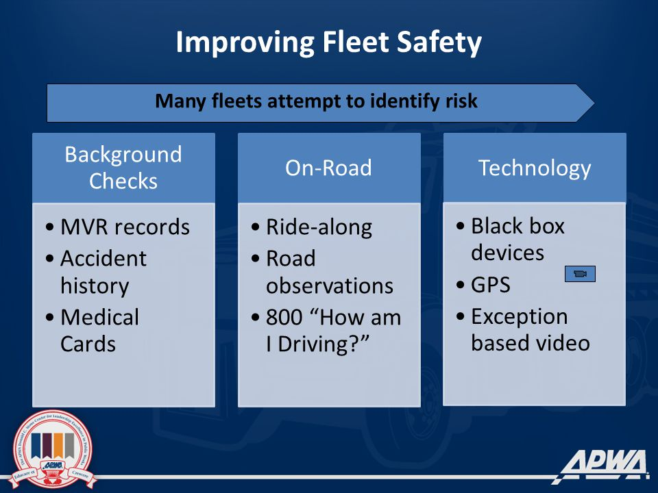 Improving Fleet Safety Background Checks MVR records Accident history Medical Cards On-Road Ride-along Road observations 800 How am I Driving Technology Black box devices GPS Exception based video Many fleets attempt to identify risk