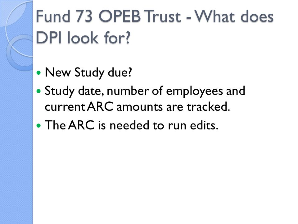 New Study due.Study date, number of employees and current ARC amounts are tracked.
