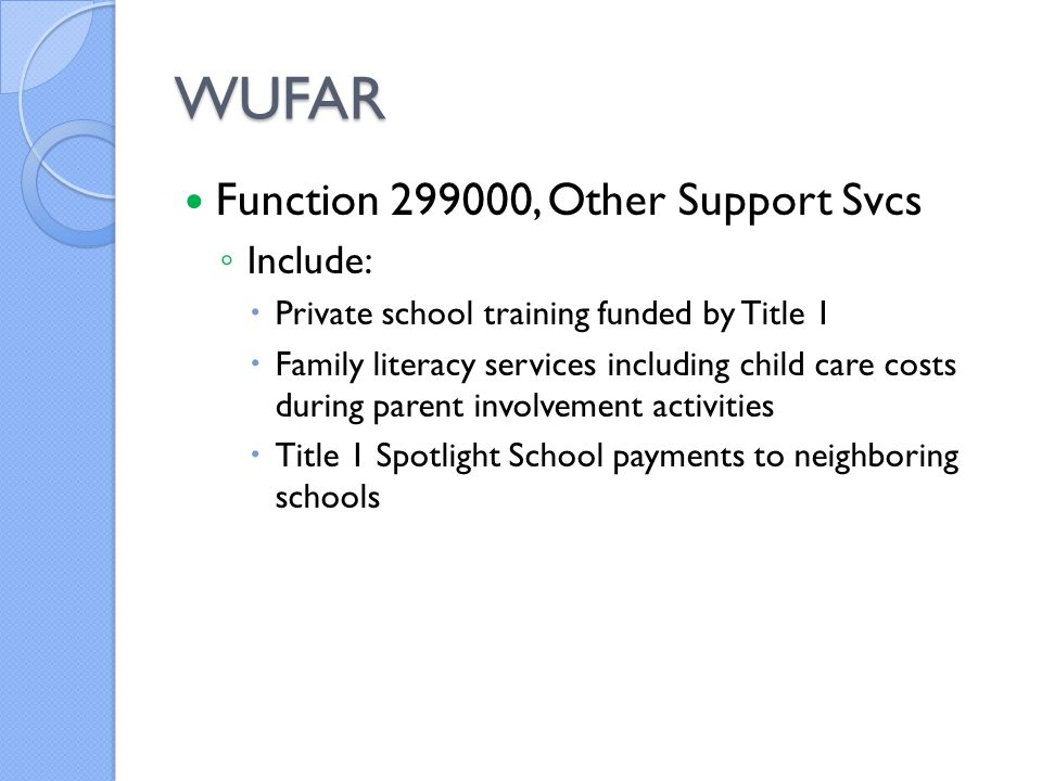 WUFAR Function 299000, Other Support Svcs ◦ Include:  Private school training funded by Title 1  Family literacy services including child care costs during parent involvement activities  Title 1 Spotlight School payments to neighboring schools