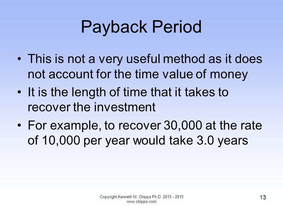Payback Period This is not a very useful method as it does not account for the time value of money It is the length of time that it takes to recover t