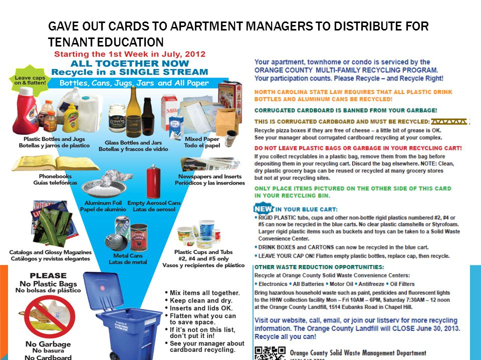 NEW LABELS FOR MULTIFAMILY & COMMERCIAL CARTS (ABOUT 3,000 CARTS) Include #2, 4 and 5 non-bottle plastics in carts (but don't tell anyone, just change