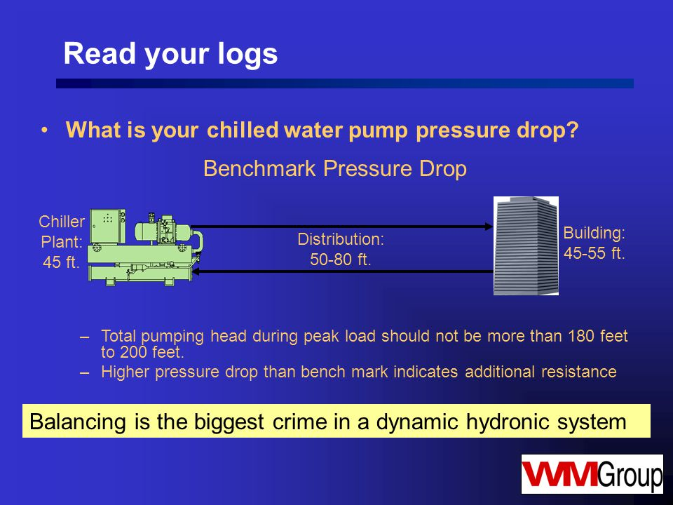 Read your logs What is your chilled water pump pressure drop.
