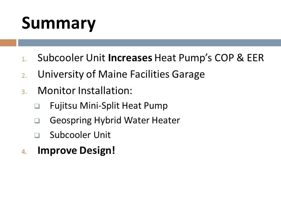 Summary 1. Subcooler Unit Increases Heat Pump's COP & EER 2. University of Maine Facilities Garage 3. Monitor Installation:  Fujitsu Mini-Split Heat