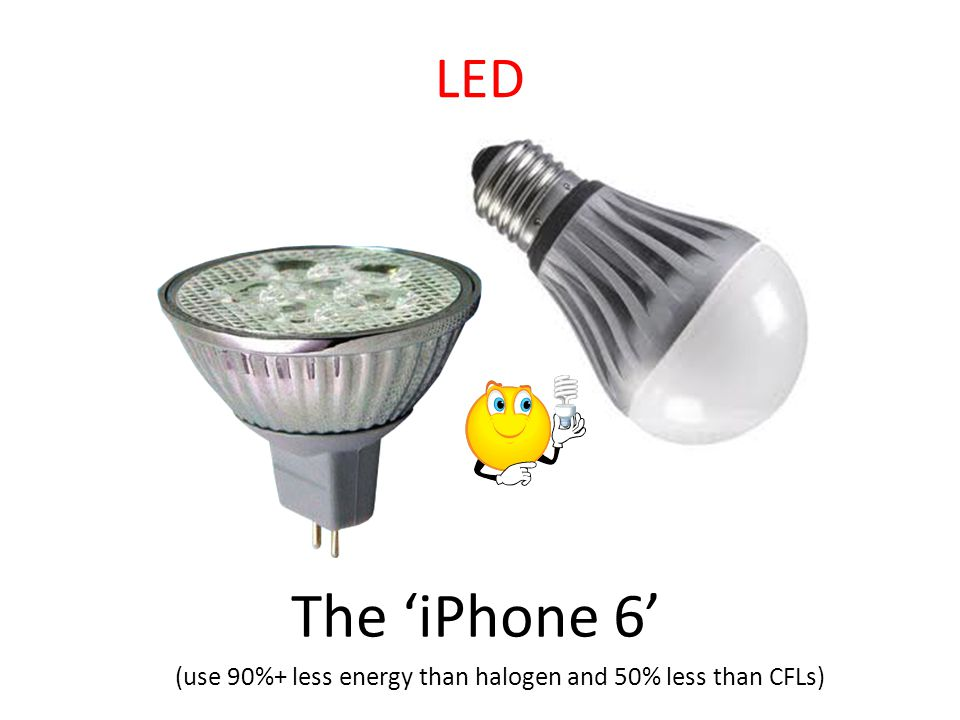 The 'iPhone 6' (use 90%+ less energy than halogen and 50% less than CFLs) LED