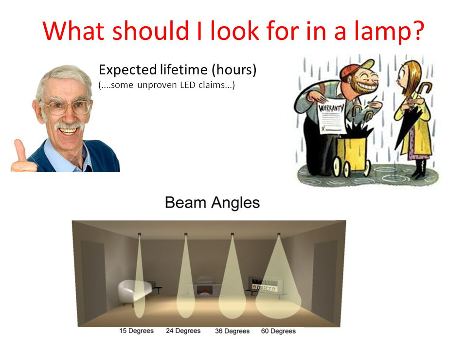 Expected lifetime (hours) (....some unproven LED claims...) What should I look for in a lamp