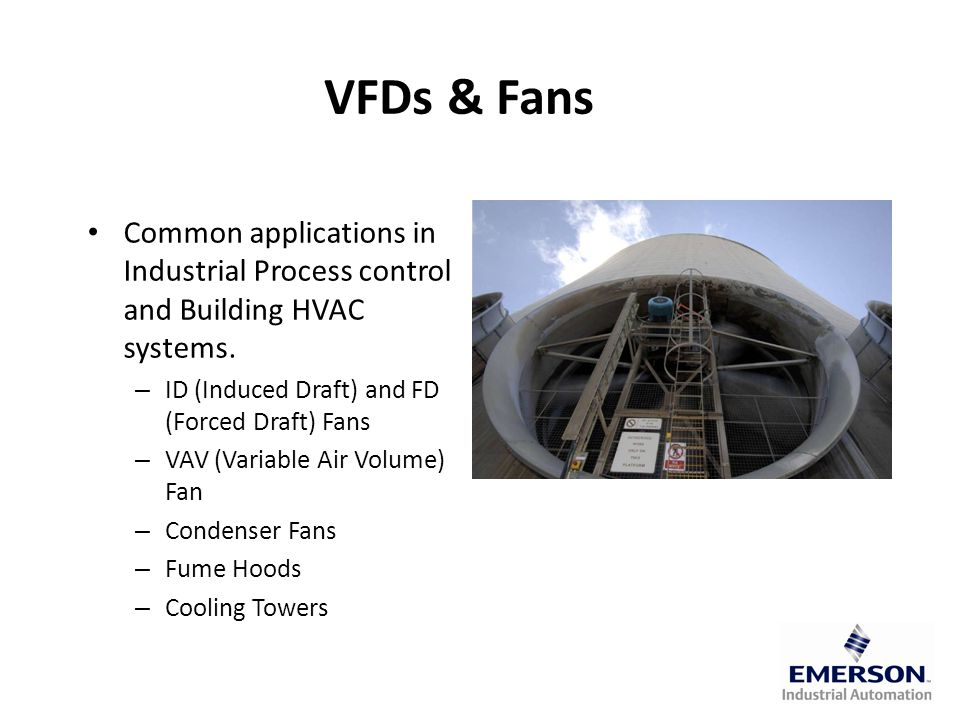 VFDs & Fans Common applications in Industrial Process control and Building HVAC systems.
