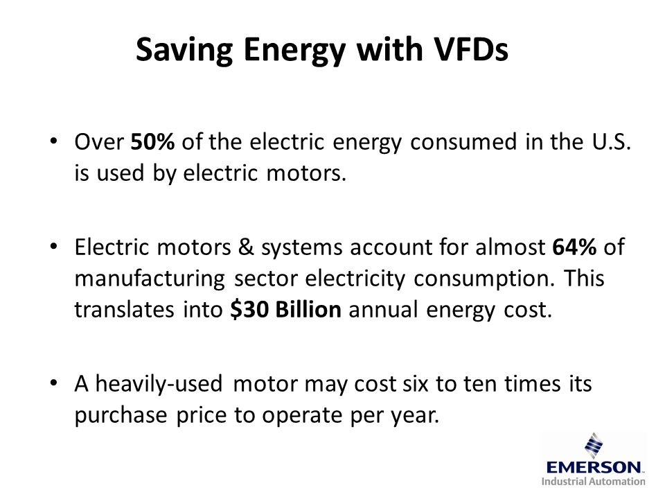 Saving Energy with VFDs Over 50% of the electric energy consumed in the U.S.