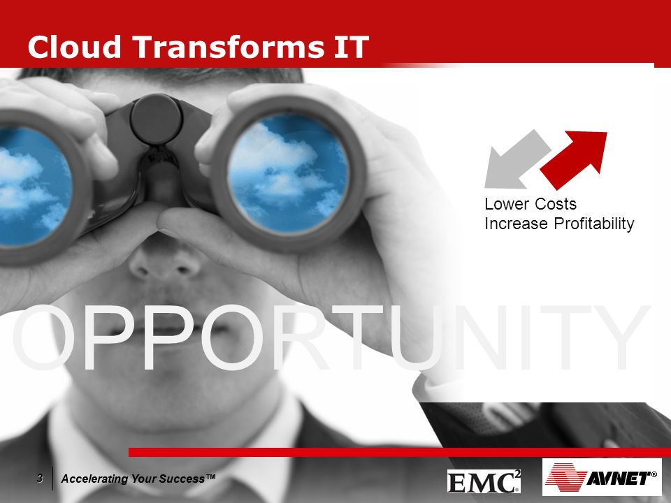 Accelerating Your Success™ 3 Cloud Transforms IT Lower Costs Increase Profitability OPPORTUNITY