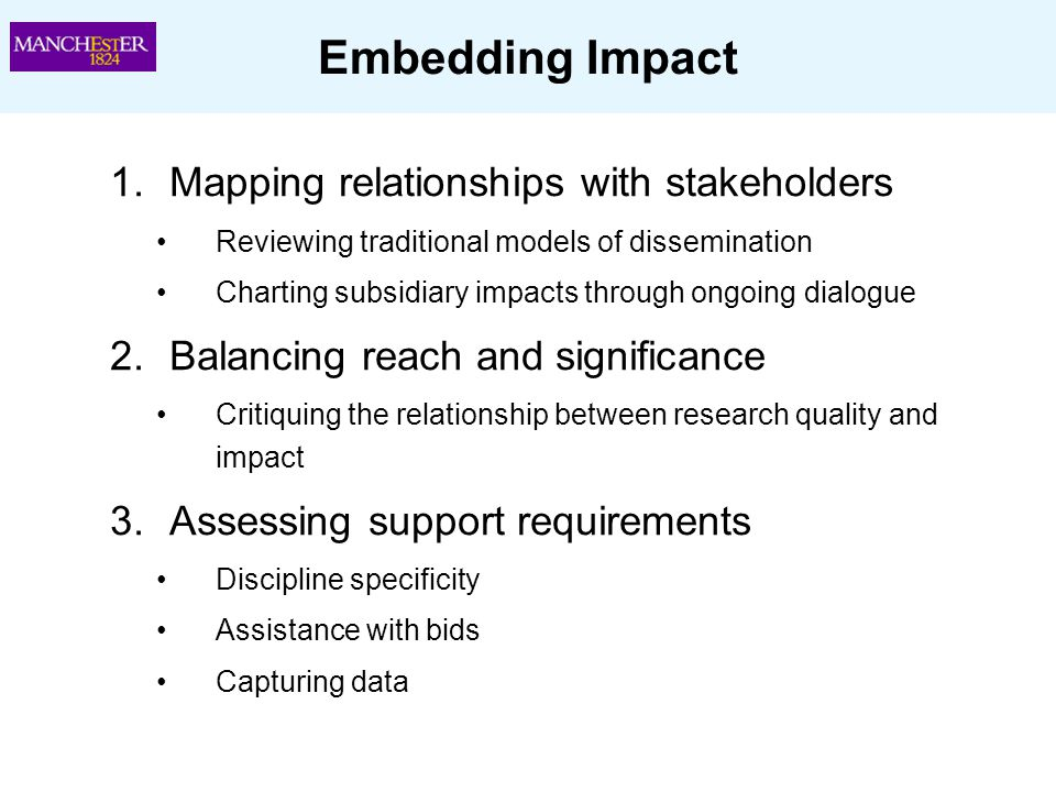 Embedding Impact 1.Mapping relationships with stakeholders Reviewing traditional models of dissemination Charting subsidiary impacts through ongoing d