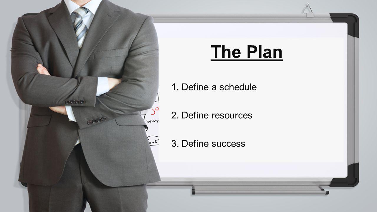 1. Define a schedule 2. Define resources 3. Define success The Plan