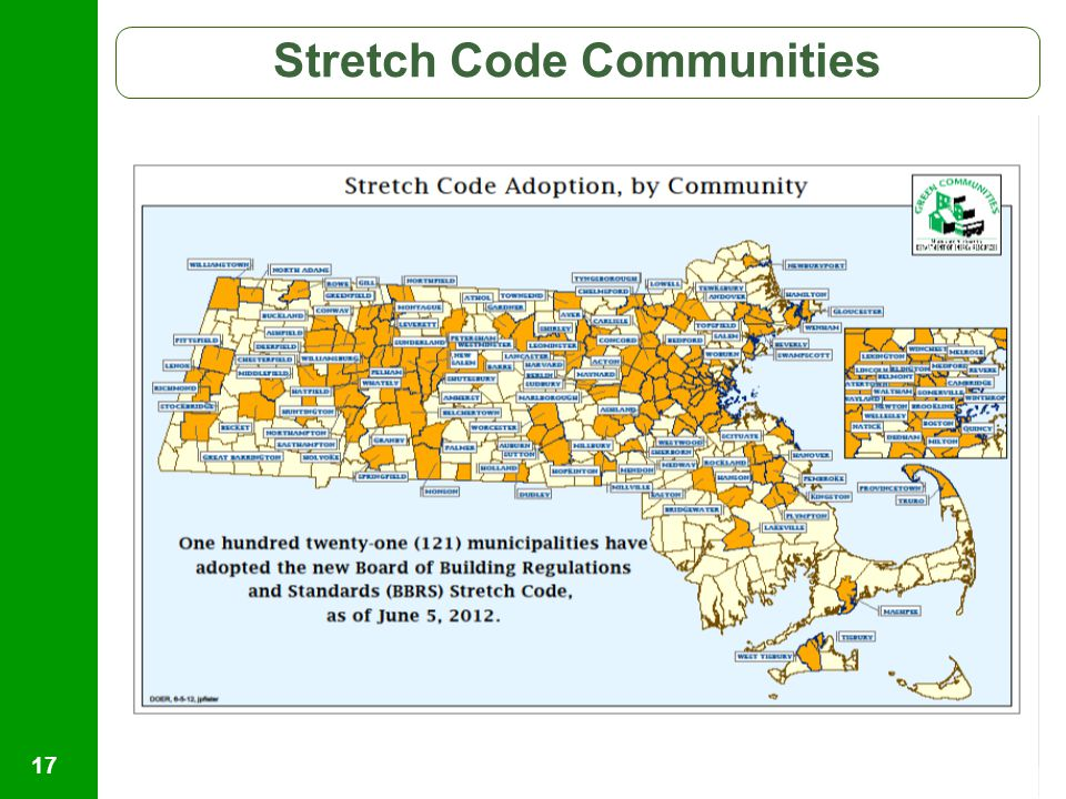 Helping Massachusetts Municipalities Create A Cleaner Energy Future 17 Stretch Code Communities