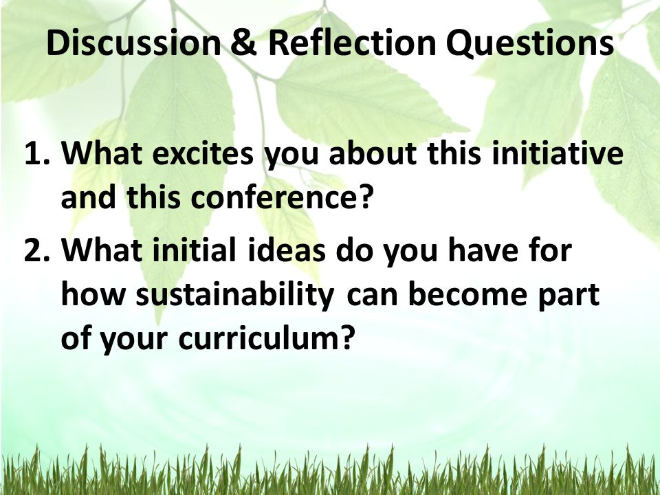 Discussion & Reflection Questions 1.What excites you about this initiative and this conference.