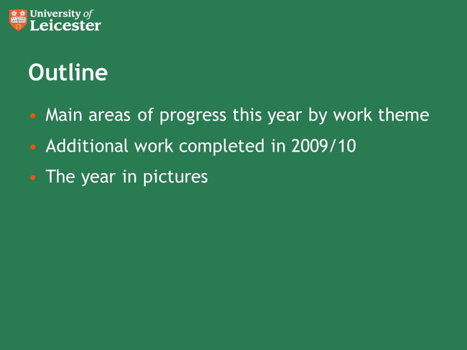 Outline Main areas of progress this year by work theme Additional work completed in 2009/10 The year in pictures