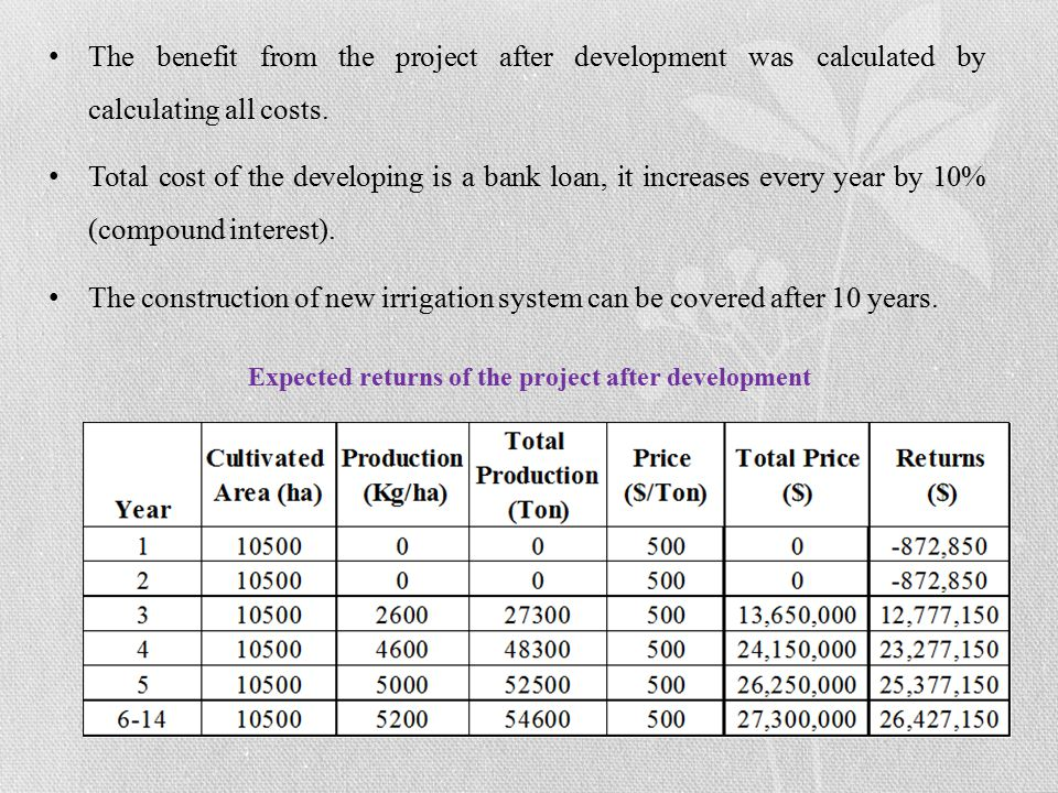 The benefit from the project after development was calculated by calculating all costs.
