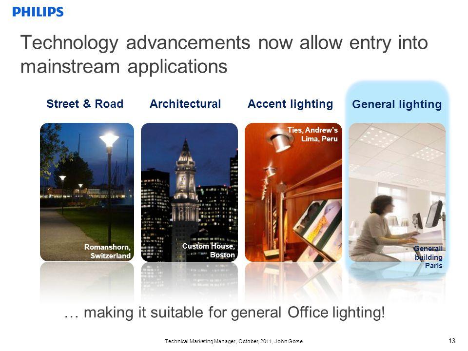Technical Marketing Manager, October, 2011, John Gorse 13 Street & Road General lighting ArchitecturalAccent lighting Generali building Paris Ties, An