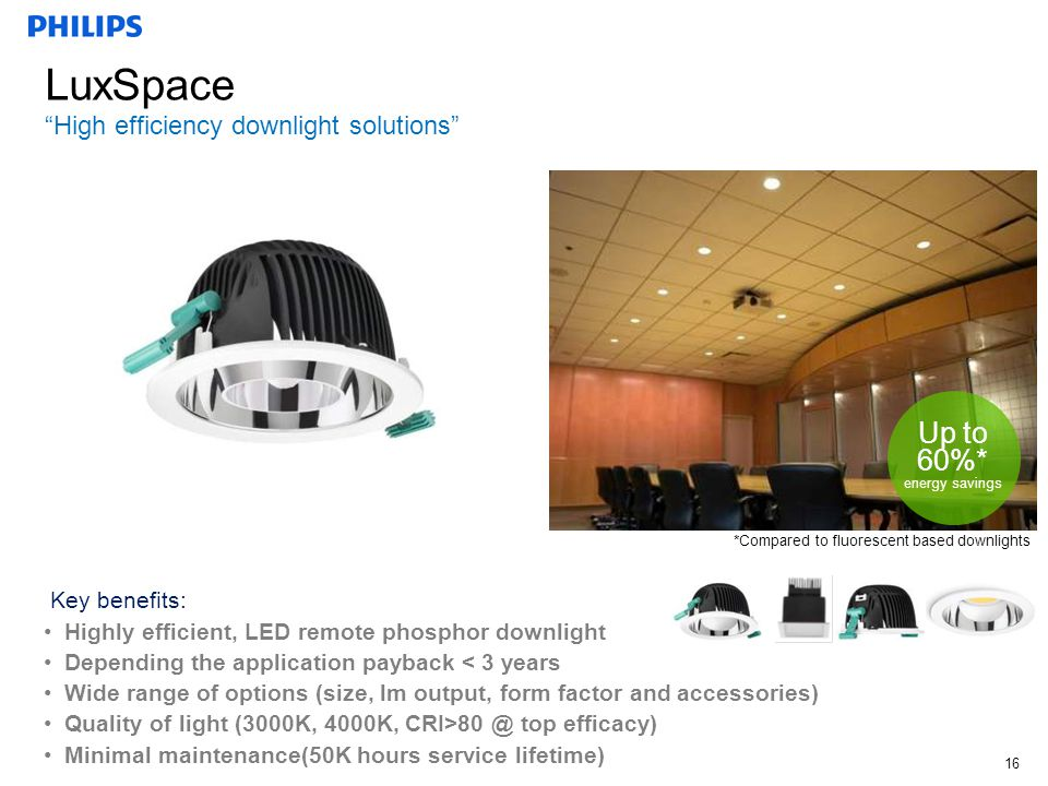 """Technical Marketing Manager, October, 2011, John Gorse 16 LuxSpace """"High efficiency downlight solutions"""" Fluorescent Up to 60%* energy savings Key ben"""