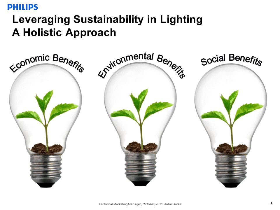 Technical Marketing Manager, October, 2011, John Gorse 5 Leveraging Sustainability in Lighting A Holistic Approach