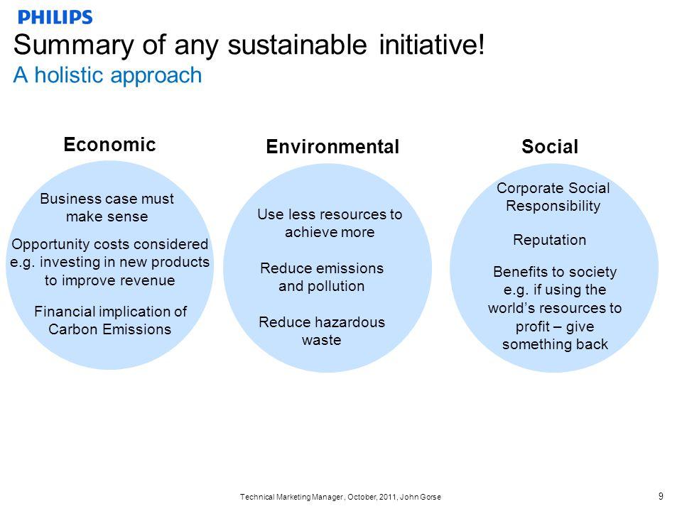 Technical Marketing Manager, October, 2011, John Gorse 9 Economic SocialEnvironmental Business case must make sense Financial implication of Carbon Em