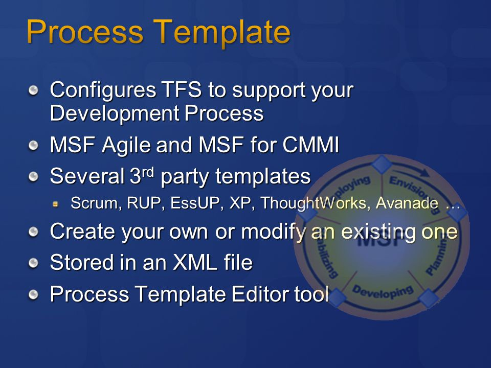 Configures TFS to support your Development Process MSF Agile and MSF for CMMI Several 3 rd party templates Scrum, RUP, EssUP, XP, ThoughtWorks, Avanade … Create your own or modify an existing one Stored in an XML file Process Template Editor tool