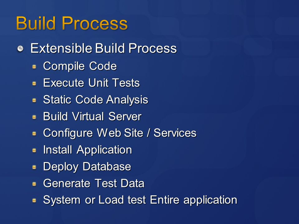 Extensible Build Process Compile Code Execute Unit Tests Static Code Analysis Build Virtual Server Configure Web Site / Services Install Application Deploy Database Generate Test Data System or Load test Entire application