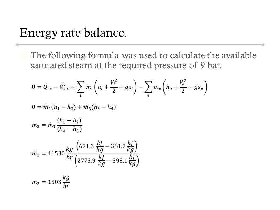 Energy rate balance.