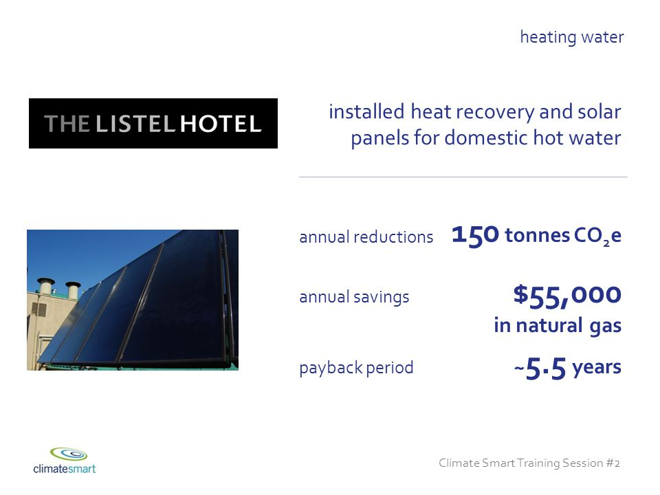 Climate Smart Training Session #2 installed heat recovery and solar panels for domestic hot water ~ 5.5 years payback period $55,000 in natural gas annual savings heating water 150 tonnes CO 2 e annual reductions