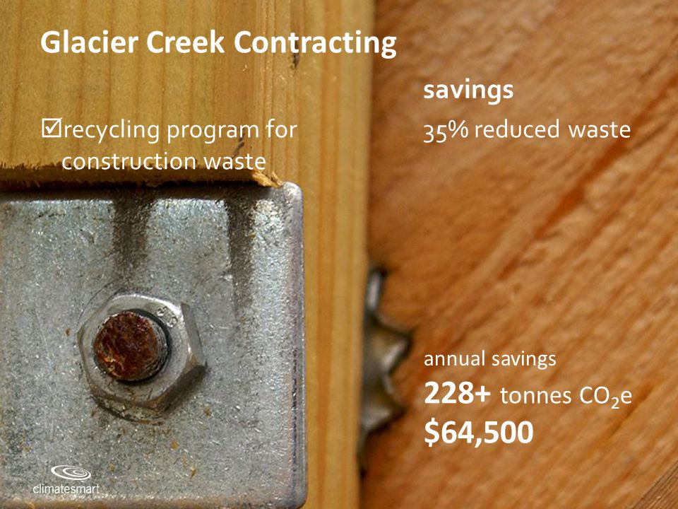 Climate Smart Training Session #2 Glacier Creek Contracting savings  recycling program for construction waste 35% reduced waste 228+ tonnes CO 2 e $64,500 annual savings