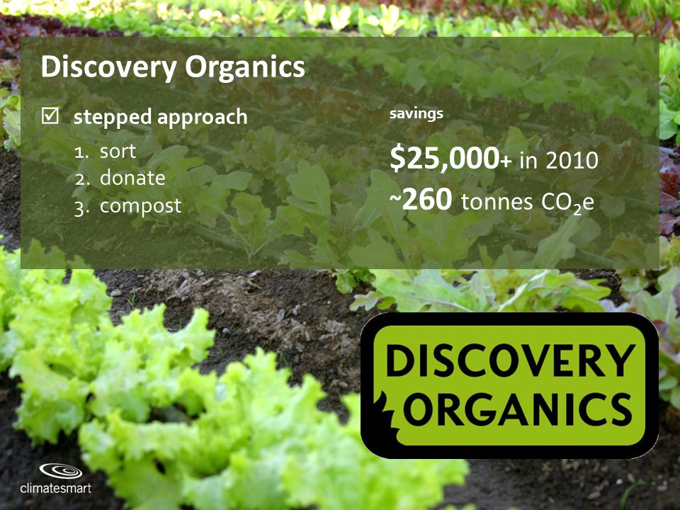 Climate Smart Training Session #2 Discovery Organics  stepped approach savings 1.sort 2.donate 3.compost $25,000 + in 2010 ~ 260 tonnes CO 2 e