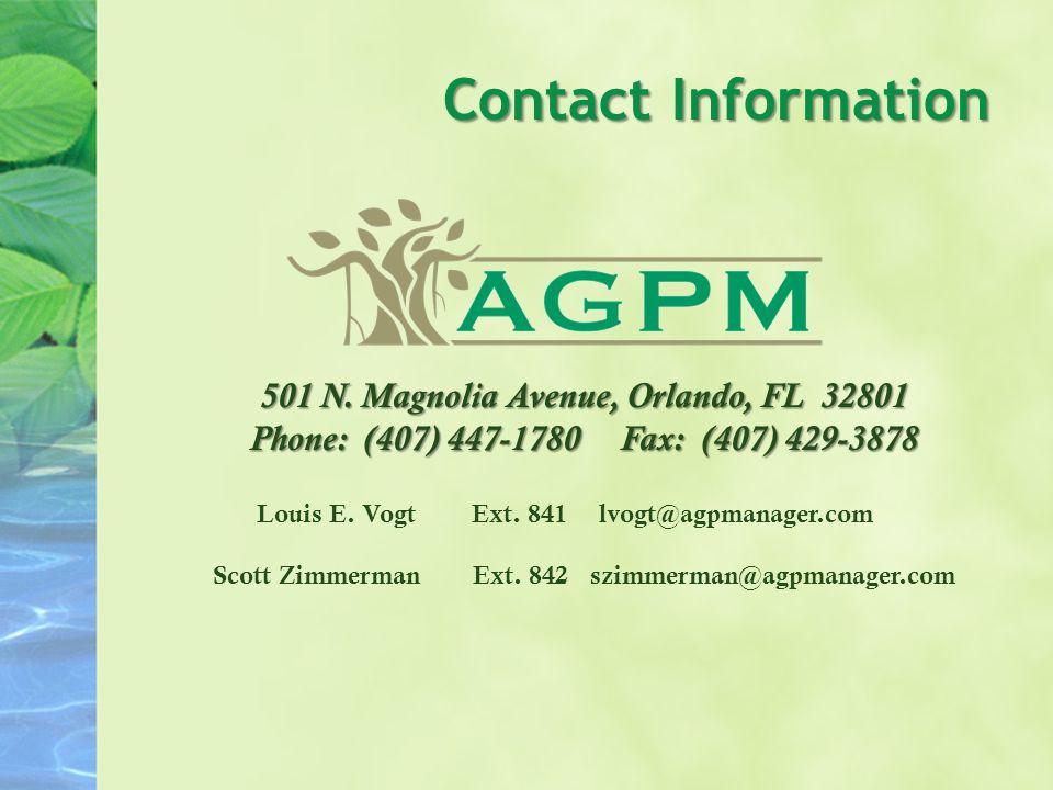 Contact Information Louis E. VogtExt. 841lvogt@agpmanager.com Scott ZimmermanExt.