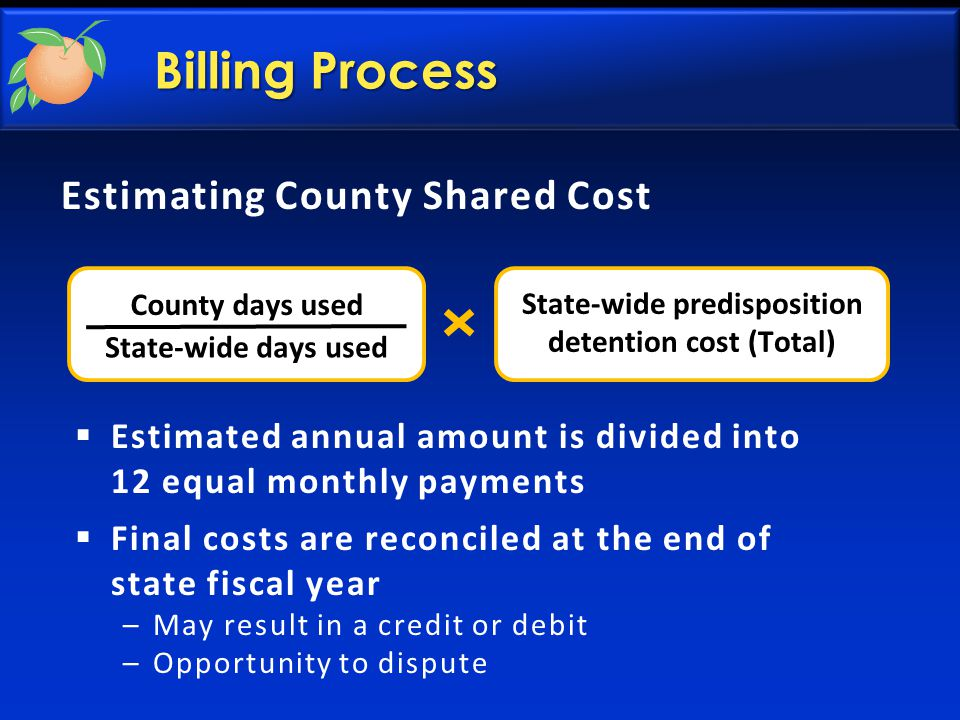 Estimating County Shared Cost County days used State-wide days used State-wide predisposition detention cost (Total)  Estimated annual amount is divided into 12 equal monthly payments  Final costs are reconciled at the end of state fiscal year –May result in a credit or debit –Opportunity to dispute Billing Process