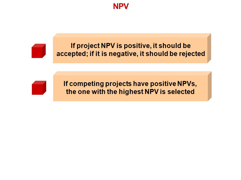 NPV If competing projects have positive NPVs, the one with the highest NPV is selected If project NPV is positive, it should be accepted; if it is neg