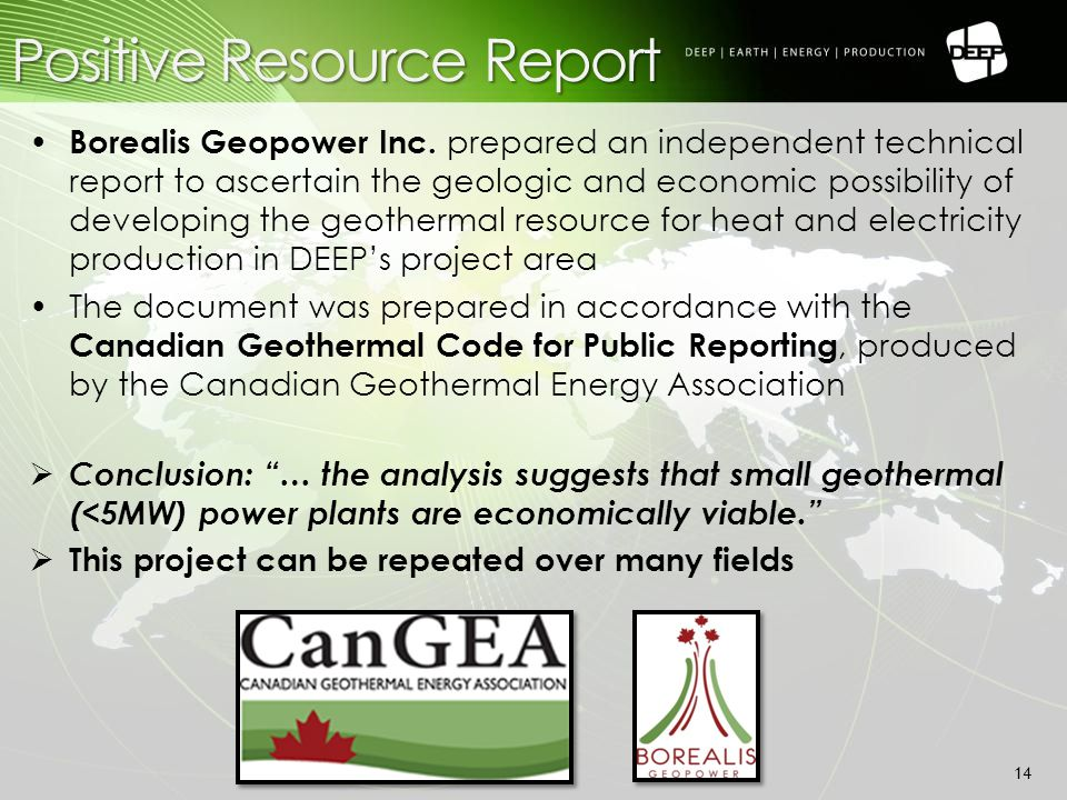 Positive Resource Report 14 Borealis Geopower Inc.