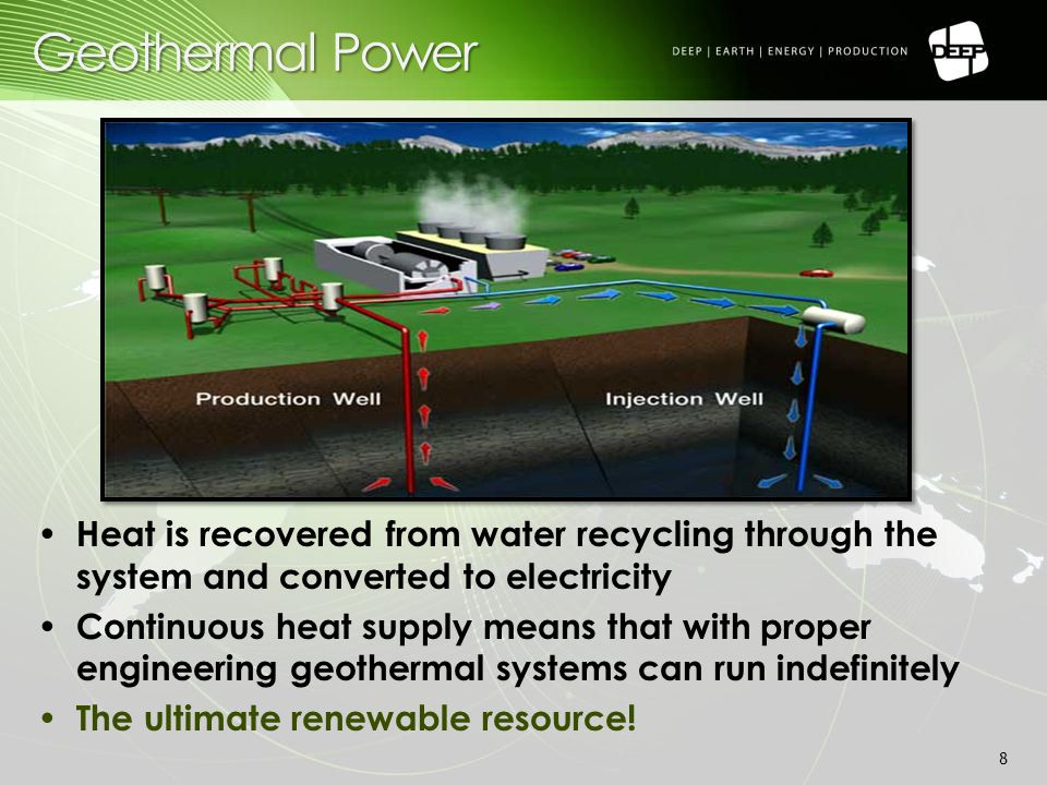 Geothermal power plants provide constant, baseload power as compared to wind or solar alternatives Silent Small project footprint - almost invisible on the prairie landscape Low CO2 emissions Geothermal advantages 9