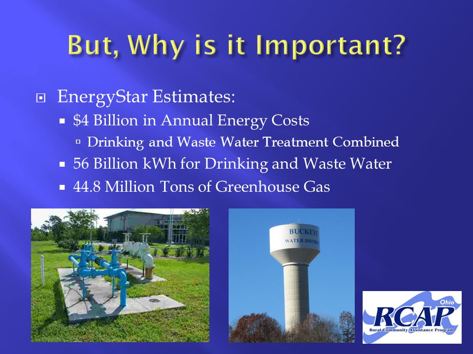  EnergyStar Estimates:  $4 Billion in Annual Energy Costs  Drinking and Waste Water Treatment Combined  56 Billion kWh for Drinking and Waste Water  44.8 Million Tons of Greenhouse Gas