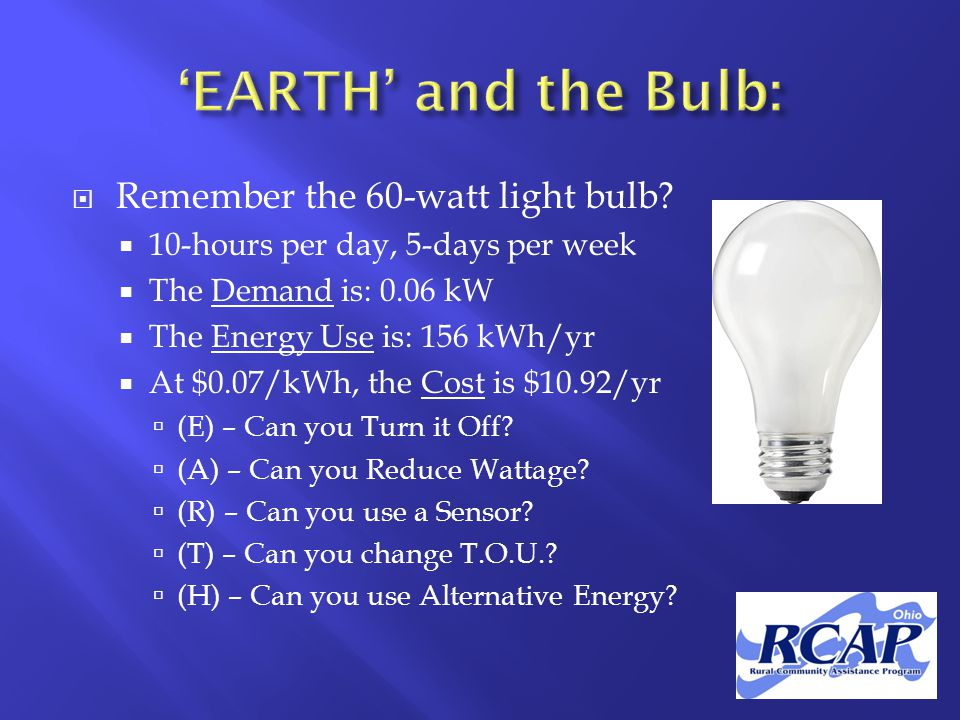  Remember the 60-watt light bulb.