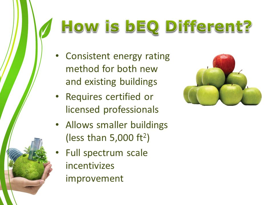 Consistent energy rating method for both new and existing buildings Requires certified or licensed professionals Allows smaller buildings (less than 5,000 ft 2 ) Full spectrum scale incentivizes improvement